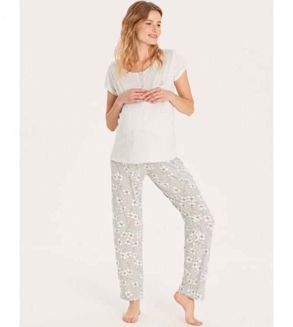 Patterned Maternity Pajamas Set-Light Grey Print