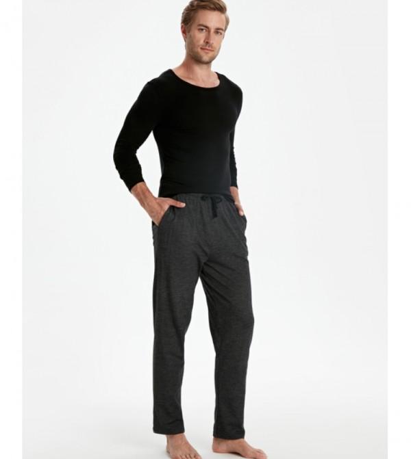 Standard Mold Jacquard Pajama Bottom-New Black