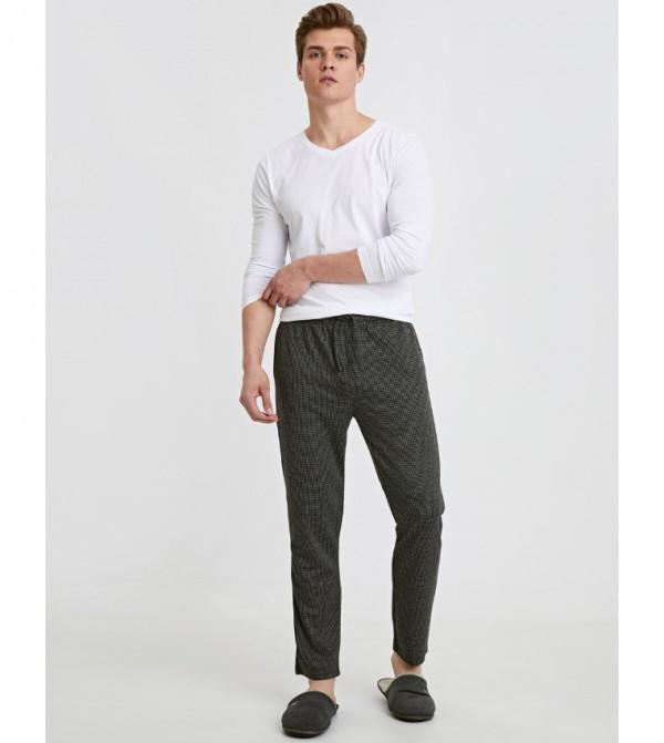Standard Mold Jacquard Pajama Bottom-Anthracite