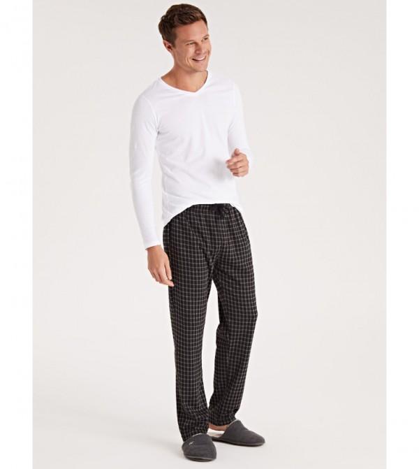 Standard Mold Plaid Pajama Bottom-Black Checked