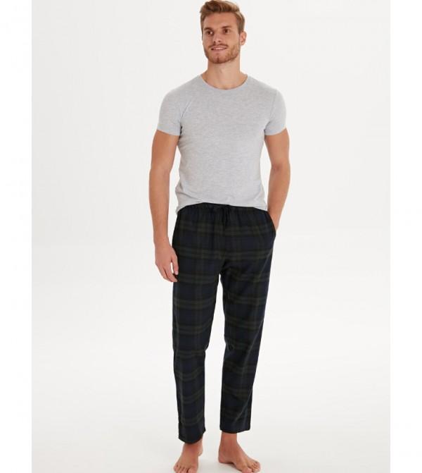 Standard Mold Plaid Pajama Bottom-Dark Green Check