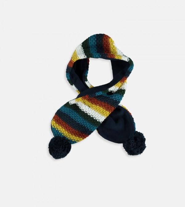 Pompon Knitwear Scarf-Navy Striped