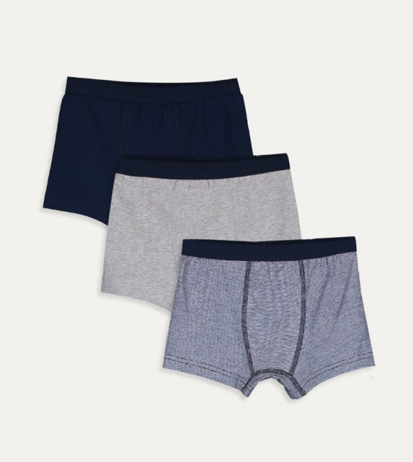 Boxer 3 Pieces-Navy Striped