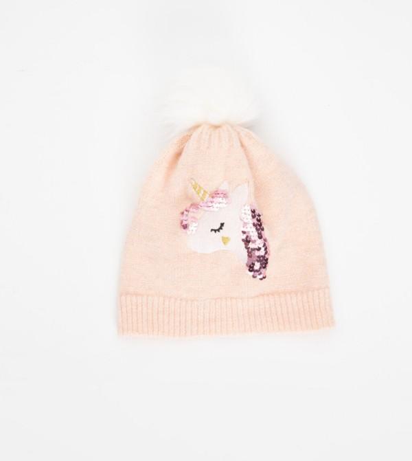 Unicorn Patterned Knitwear Beanie-Sweet Pink