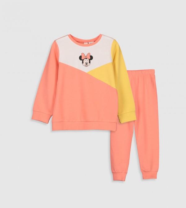 Minnie Mouse Printed Cotton Pajamas Set-Coral