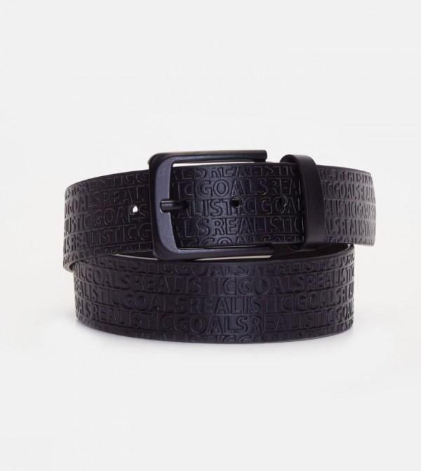 Slogan Printed Belt-Black