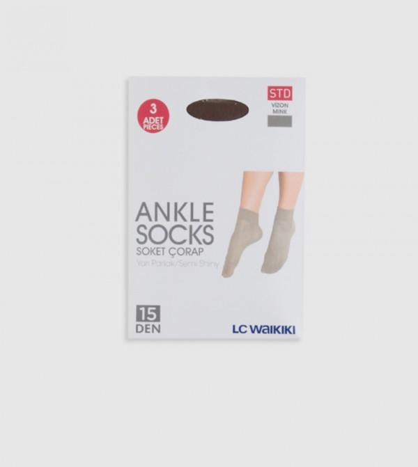 Semi Shiny Socket Socks 3 Pieces-Mink