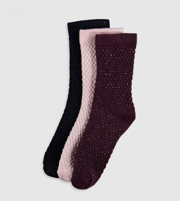 Thick Socket Socks 3 Pieces-Bordeaux
