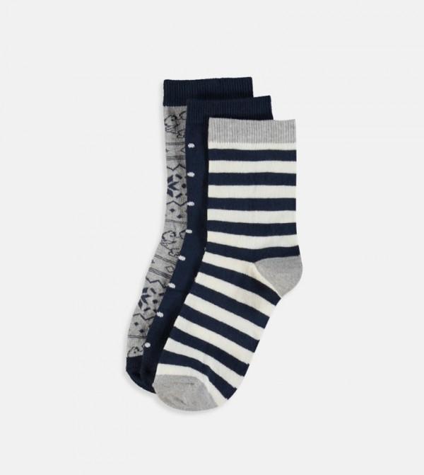 Patterned Socket Socks 3 Pieces-Navy