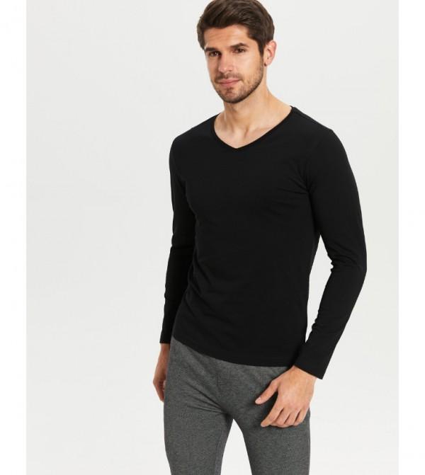 V Neck Long Sleeve Basic T-Shirt-New Black