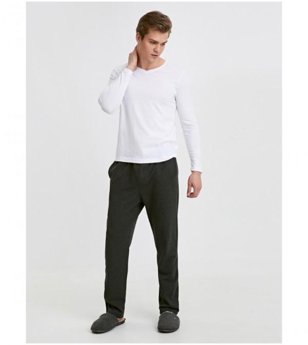 Standard Mold Pajama Bottom-Beige Melange