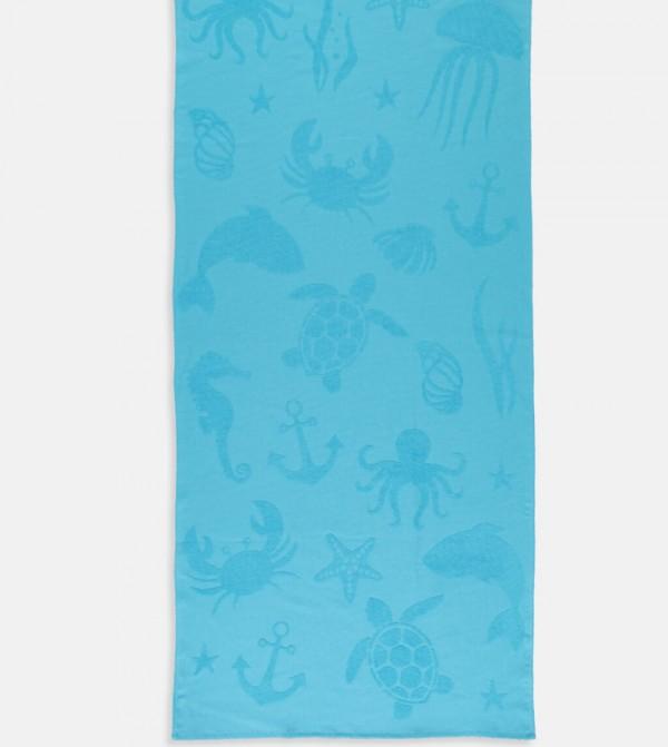Patterned Cotton Towel-Blue