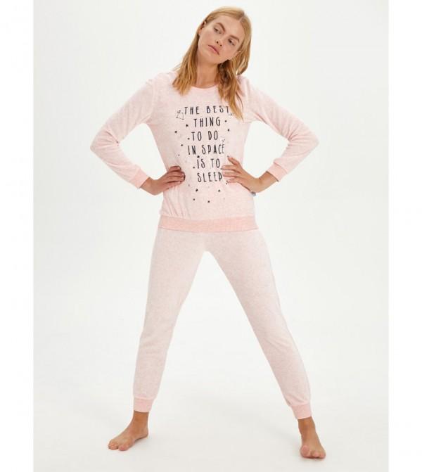 Embroidered Velvet Pajama Set-Pink
