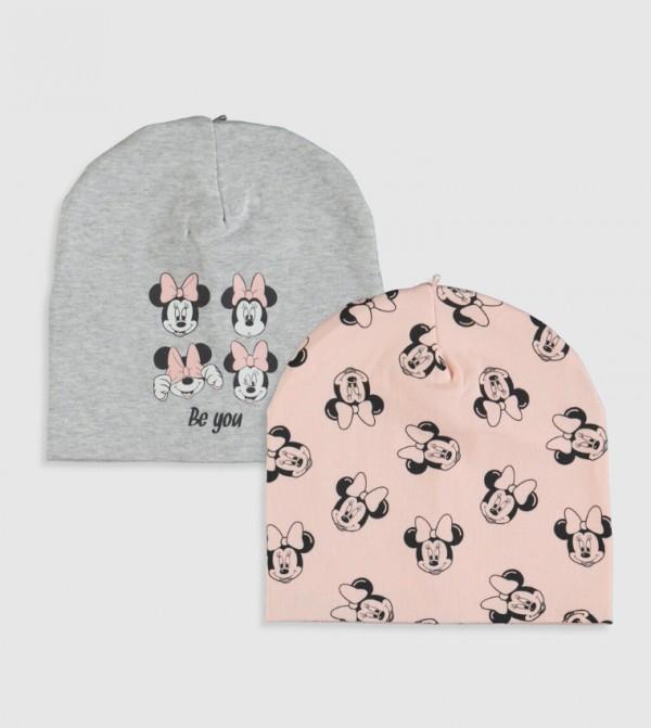 Minnie Mouse Printed Beanie 2 Pieces-Snow Melange
