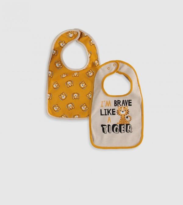 Patterned Baby Apron 2 Pieces-Beige Melange