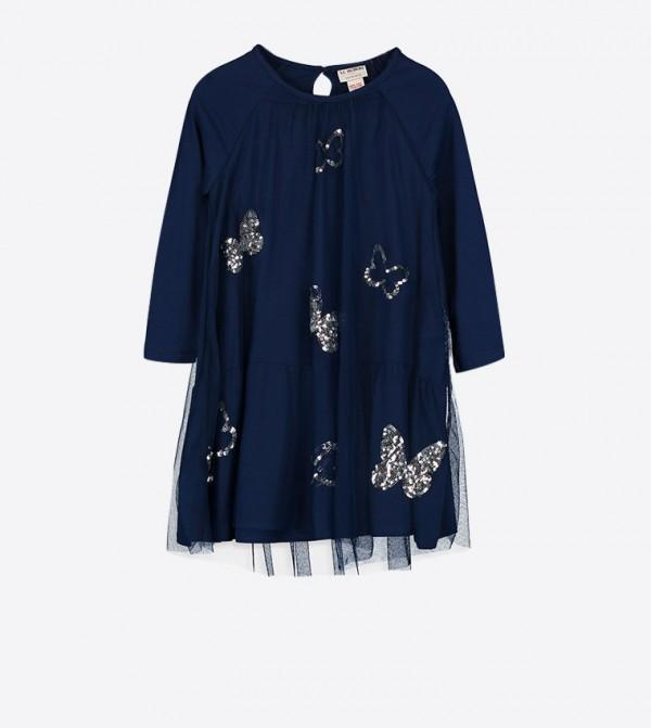 فستان بأكمام قصيرة وتفاصيل لامعة لون كحلي