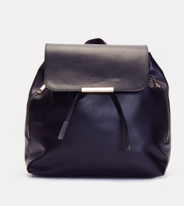 Leather Looking Backpack-Black