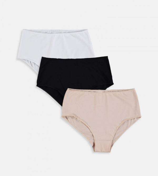 Cotton High Waist Briefs 3 Pieces-Nude Pink