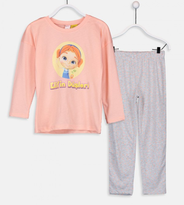 Elif'S Dreams Cotton Pajamas Set-Peach