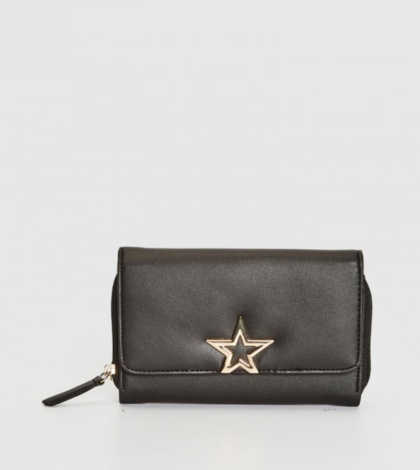 Star Embroidered Wallet-Black