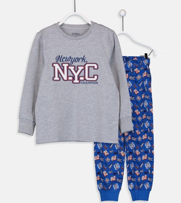 Printed Pajama Set-Grey Melange