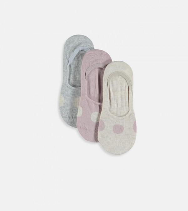 Babet Socks 3 Pieces-Beige Melange