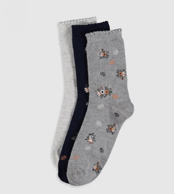 Socket Socks 3 Pieces-Light Grey Melan