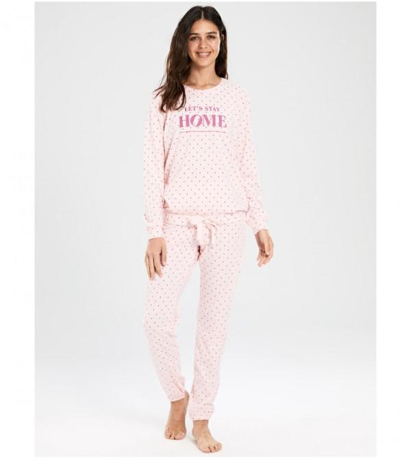 Text Printed Polka Dot Cotton Pajamas Set-Light Pink Print