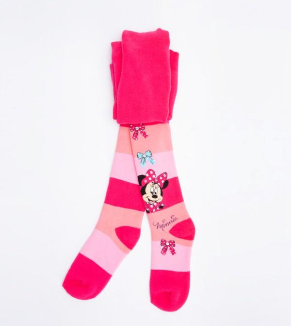 Mickey Mouse Printed Towel Pantyhose-Fushia Pink