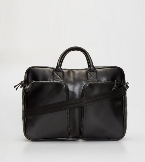 Leather Look Laptop Bag-Black