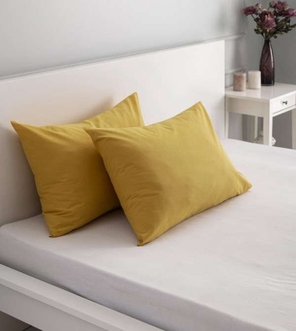 Pillow Case 2 Pcs-Mustard