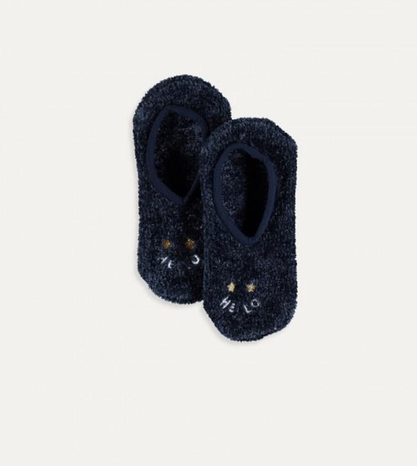 Plush Home Socks-Navy