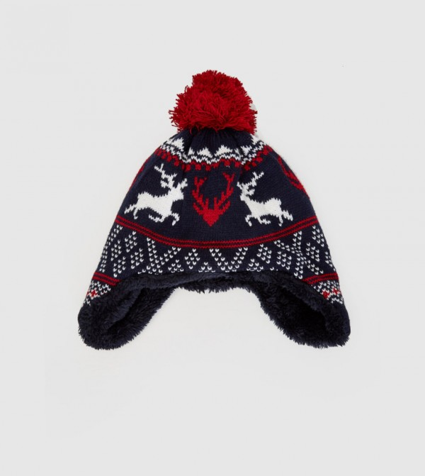 Christmas Themed Fleece Lined Knitwear Beanie-Navy