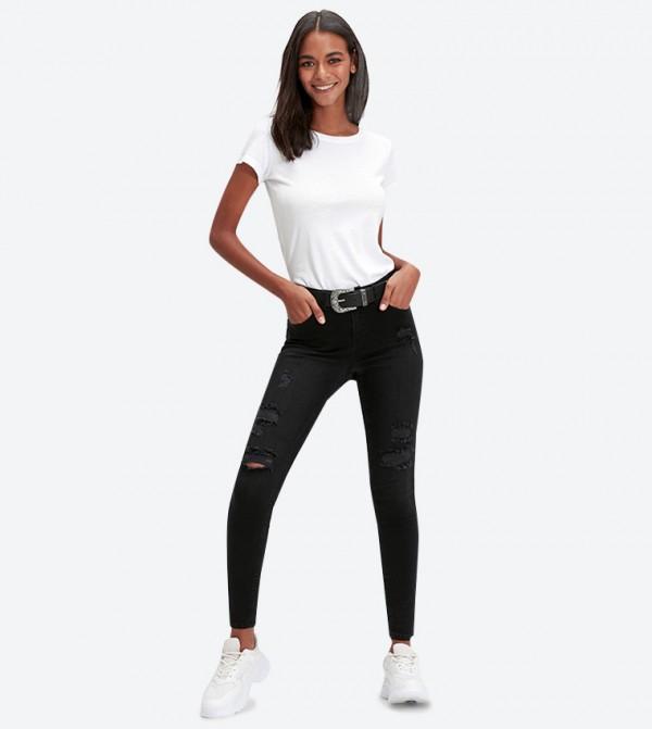 بنطال جينز بخمس جيوب لون أسود