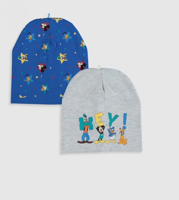 Disney Printed Beanie 2 Pieces-Snow Melange