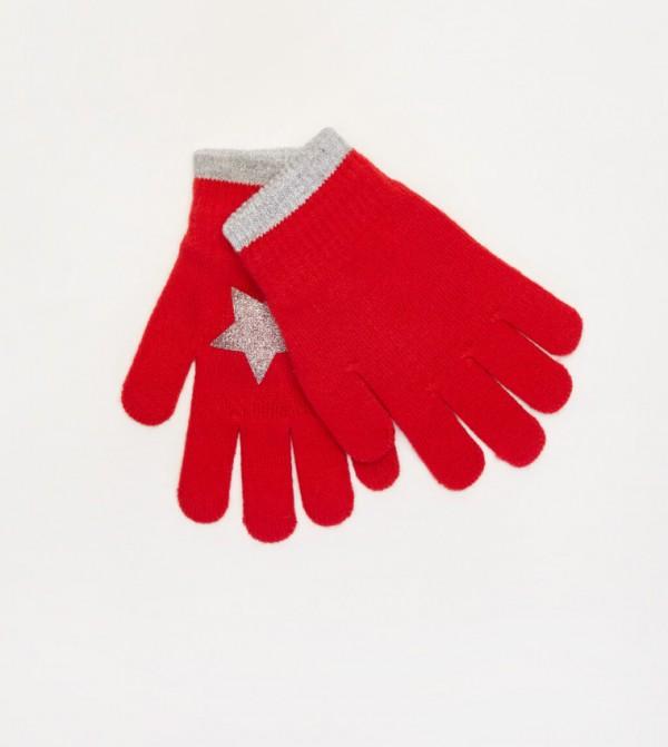 Star Printed Knitwear Glove-Red