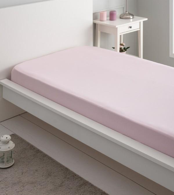 Children'S Elastic Combed Cotton Bed Sheet-Light Pink
