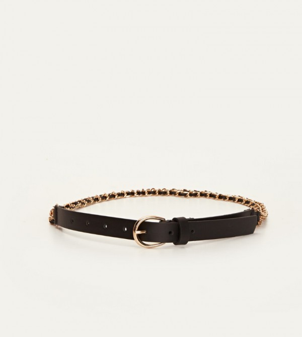 Leather Look Chain Belt-Black