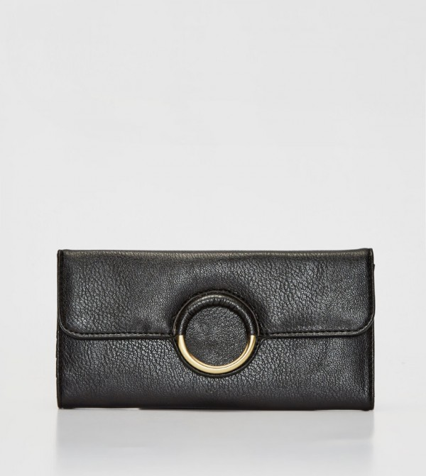 Leather Look Wallet-Black