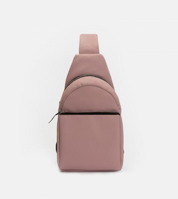 Cross Shoulder Strap Backpack-Powder Pink
