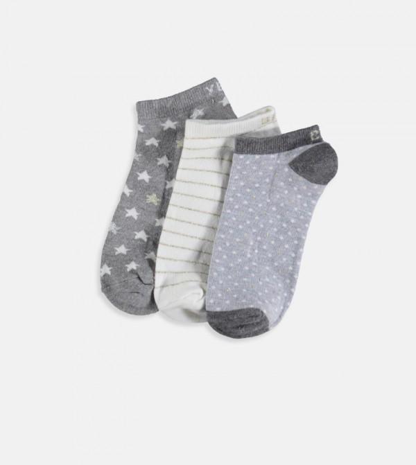 Booties Socks 3 Pieces-Grey Melange