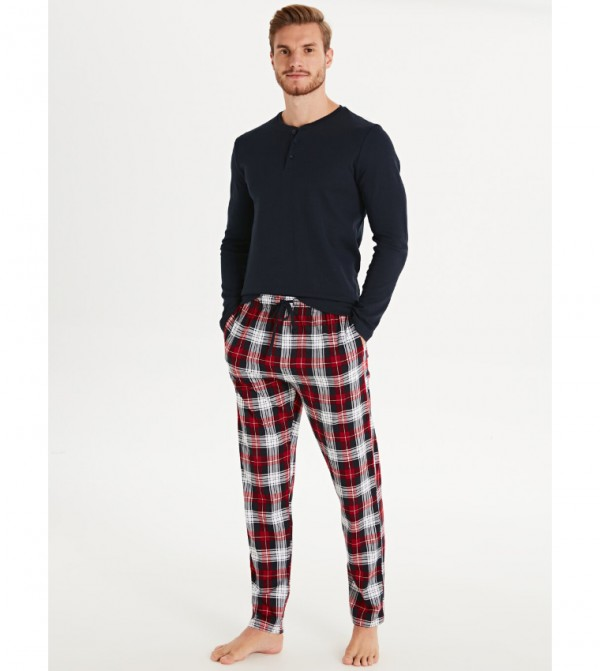 Standard Mold Plaid Cotton Pajama Bottom-Red Checked