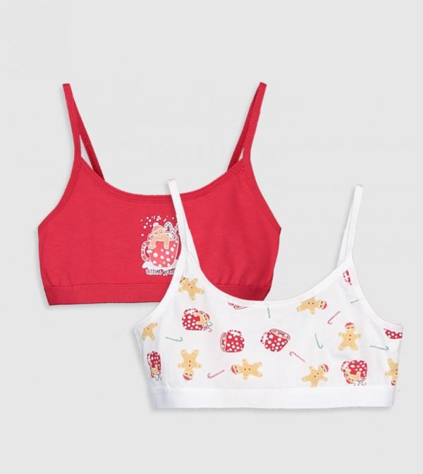 Girls Cotton Bustier 2 Pieces-Ecru Printed