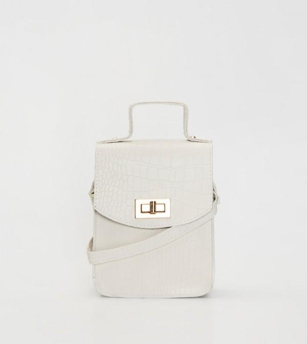 Snakeskin Looking Sleeve Bag-Optical White