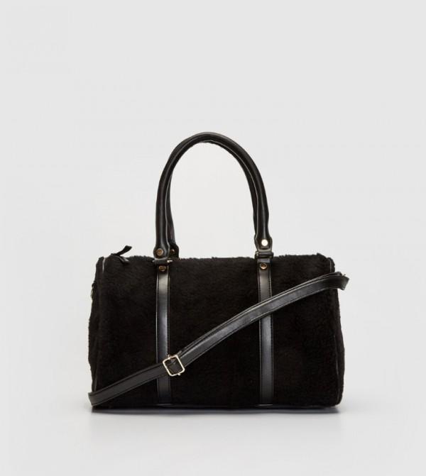 Furry Shoulder Bag-Black
