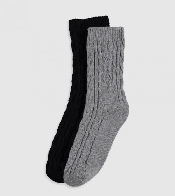 Patterned Socket Socks 2 Pieces-Light Grey Melan