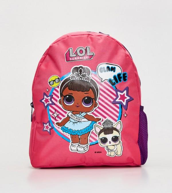 Lol Printed Backpack-Pink