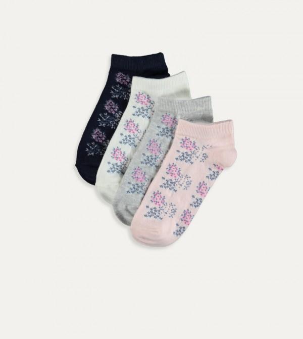 Patterned Booties Socks-Grey Melange