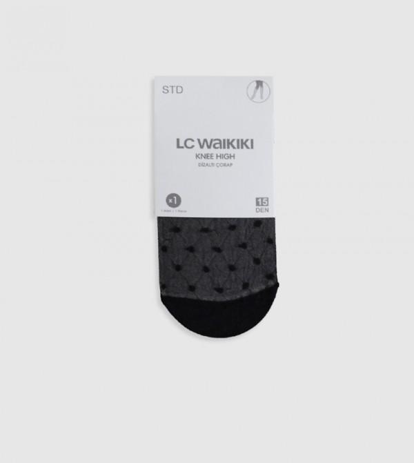 Polka Dot Knee High Socks-Black