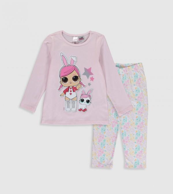 Child Lol Baby Printed Cotton Pajamas Set-Light Pink